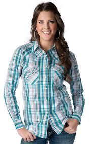 cowgirl hardware women u0027s turquoise plaid with vine u0026 horseshoe