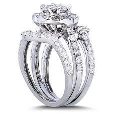 Gold Diamond Wedding Ring Sets by 1 5 8ct Tw Round Cluster Diamond Wedding Ring Set In 14k White
