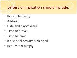 writing writing a letter of invitation and a response ppt download