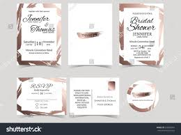 Invitation With Rsvp Card Wedding Invitation Card Rose Gold Color Stock Vector 636855943