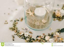 jar table decorations jar of sand shells stock photo image of decorative 37274678