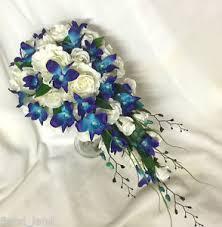 Orchid Bouquet Silk Wedding Bouquet Blue Orchid Light Teardrop Cream White Rose