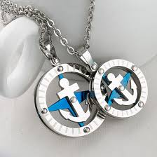 stainless steel necklace pendant images China stylish jewelry couples 316l stainless steel compass anchor jpg