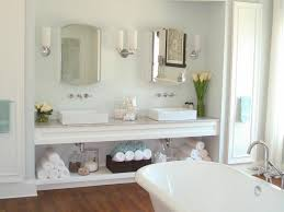 cheerful decorating ideas using silver faucets from the degree breathtaking decorating ideas using rectangle white sinks and rectangular silver mirrors also with brown rattan