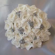 bridesmaid flowers artificial wedding flowers silver white foam wedding