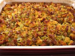 cornbread dressing with sausage in the kitchen with kath