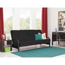 mainstays black metal arm futon with full size mattress walmart com