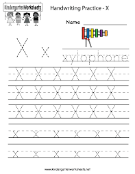 kindergarten letter x writing practice worksheet printable