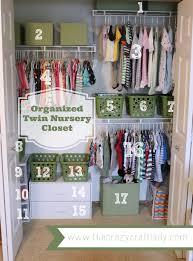 organized twin nursery closet dollar store bins twin nurseries