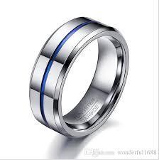 wedding band brand men rings fashion thin blue line tungsten ring wedding brand 8mm
