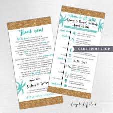 wedding itinerary printable wedding itinerary and welcome bag note destination