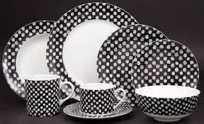 pickard china kelly wearstler dots white on black collection