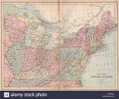Map Of North Eastern United States by Usa North East Atlantic States Midwest Bartholomew 1878