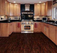 Kitchen Cabinet Vinyl Dark Brown Wooden Allure Vinyl Plank Flooring Matched With White
