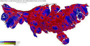 2016 Presidential Usa Election Prediction Electoral Map by Population Weighted Precinct Cartogram Of The 2016 Us Presidential