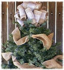 10 inch silver ribbon and burlap tree topper