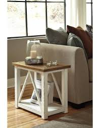 Chair Side End Table Signature Design Marshone Chairside End Table White Light Brown