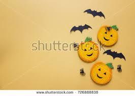 Decorative Spiders Happy Halloween Background Border Ghost Pumpkins Stock Photo