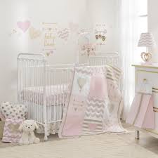 lambs u0026 ivy r baby love pink gold heart 4 piece crib bedding set