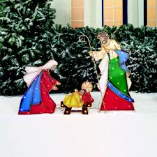 Outdoor Plastic Light Up Nativity Scene by Holiday Time Light Up Led Metal Look Nativity Set Walmart Com