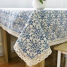 Navy Table L Famibay Rustic Tablecloth Rectangle Everyday Kitchen