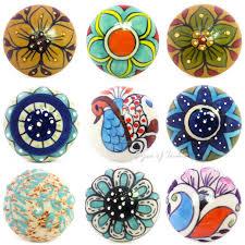 flat colorful decorative shabby chic ceramic cabinet cupboard door