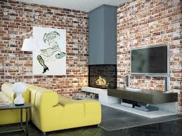Fireplace Wall Decor by Attractive Exposed Red Brick Stone Wall Decor Ideas In Living Room