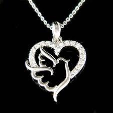 love heart chain necklace images Dainty swarovski crystal love heart peace dove pigeon free bird jpg
