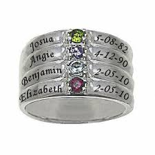 4 mothers ring mothers simulated birthstone stack look family ring in sterling