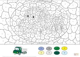 lorry color by number free printable coloring pages