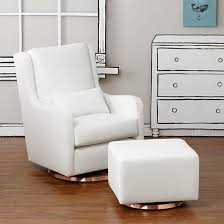 Rocking Chair Glider Nursery Milo Glider Ottoman White W Copper Base The Land Of Nod So
