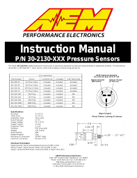 aem 30 2130 stainless steel pressure sensor user manual 2 pages