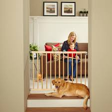 natural wood pet north states tall stairway swing top of stairs