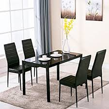 amazon com 5 piece glass dining table set 4 leather chairs