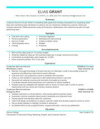 Examples Of Customer Service Resume by Best Sales Customer Service Advisor Resume Example Livecareer