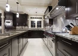 Kitchen With Stainless Steel Backsplash Cabinets U0026 Storages Brown Dark Kitchen Cabinets Modern