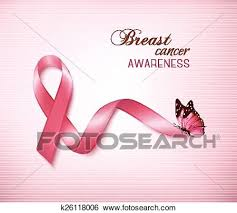 clip of background with pink breast cancer ribbon and butterfly