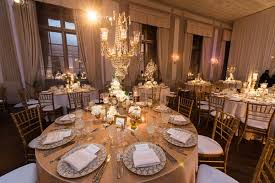 Crystal Chandelier Centerpiece Jewish Wedding With Classic Ivory And Gold Décor In Chicago