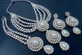 silver bridal necklace set images White bollywood silver tone indian necklace set bridal jewelry 4 jpg