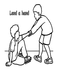 lend a hand and helping others colouring page colouring tube