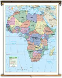 Universal Map Primary Africa Political Classroom Map On Spring Roller