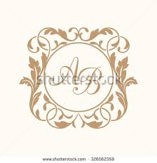 floral monogram design template one stock vector 331189847