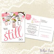 Post Card Invitations Vow Renewal Postcard We Still Do Pink Green Mason Jar Vow