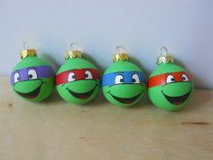 cowabunga this is a painted ornament set inspired by