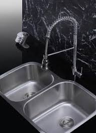a selection stainless steel sinks and modern kitchen faucets for a