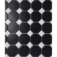 Black Ceramic Floor Tile Matte Black Ceramic Otcagon Tile