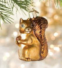 squirrel and present ceramic ornament trees trees and