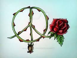 rose peace sign tattoo by kohanagirl222 on deviantart