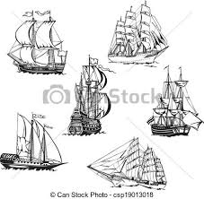 vector clip art of sketches of sailing ships black and white