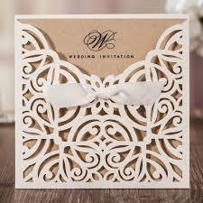 wedding invitations kraft paper 50pcs lot laser cut wedding invitations kraft paper ivory shell